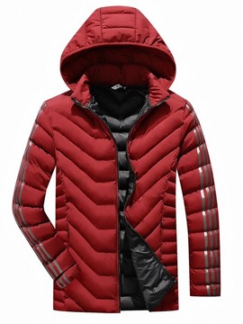Ericdress Print Stripe Lapel Zipper Men's Casual Down Jacket