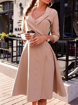 Ericdress Lapel Three-Quarter Sleeve Knee-Length Regular A-Line Dress
