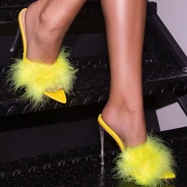 Ericdress Stiletto Heel Pompon Slip-On Spring Slippers