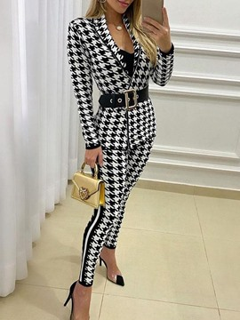 Ericdress Print Houndstooth Casual Zipper Pencil Pants Two Piece Sets
