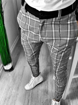 Ericdress Pencil Pants Plaid Mid Waist Casual Casual Men's Pants