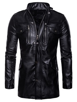 Ericdress Plain Stand Collar Standard European Winter Leather Men's Jacket