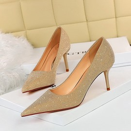 ericdress bout pointu sequin slip-on chaussures fines à tige basse