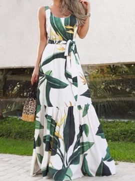 Ericdress Floor-Length Print Sleeveless Color Block Sweet Women's Dress