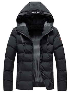 Ericdress Hooded Appliques Standard Casual Zipper Men's Down Jacket