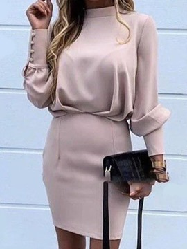 Ericdress Above Knee Long Sleeve Stand Collar Plain Pullover Dress