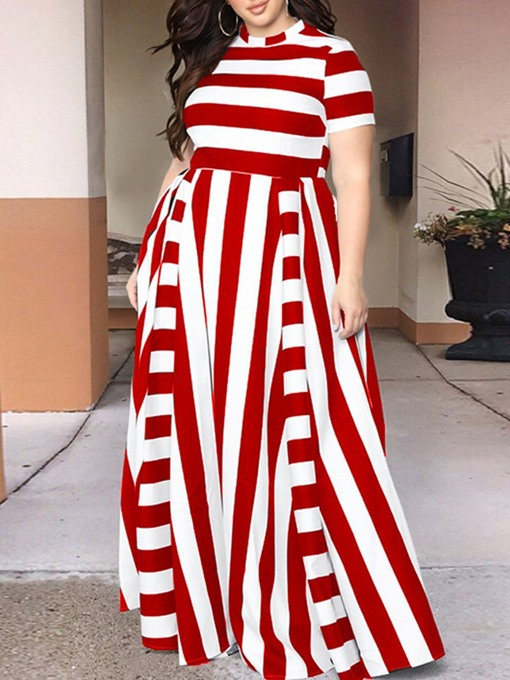 Ericdress Floor-Length Print Stand Collar Regular Stripe Dress