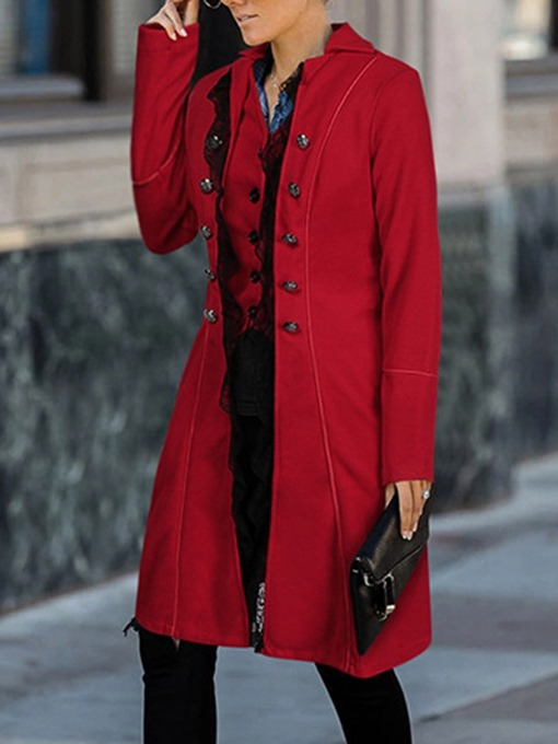 Ericdress Loose Patchwork Double-Breasted Fall Lapel Women's Overcoat