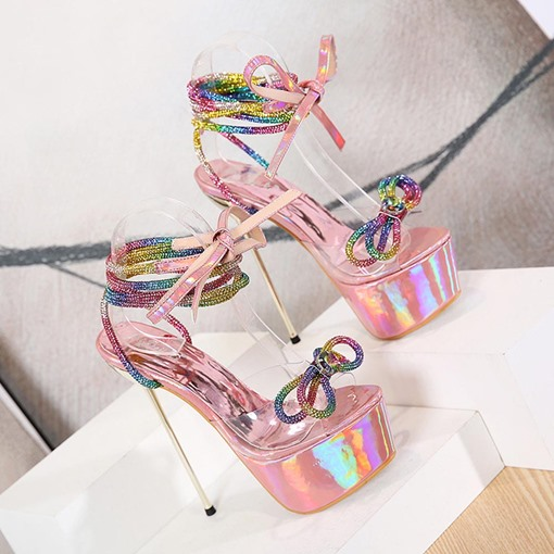 Ericdress Lace-Up Peep Toe Stiletto Heel Casual Women's Sandals