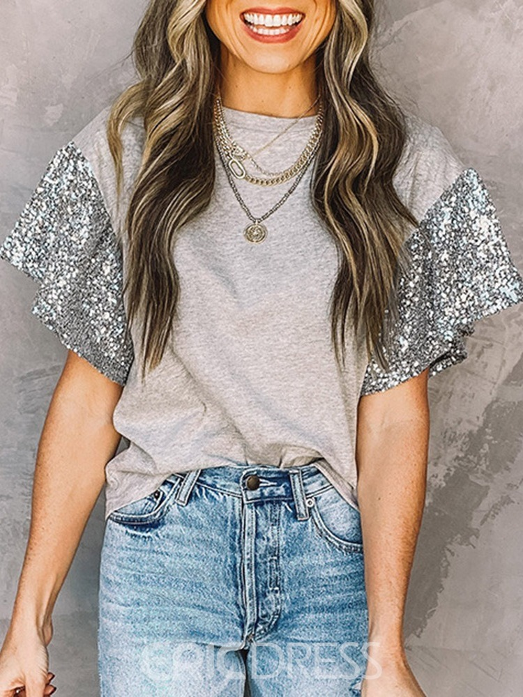 Ericdress Round Neck Short Sleeve Color Block Casual Loose Women's T-Shirt