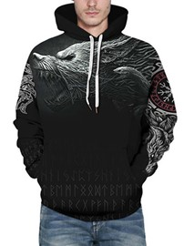 Ericdress Thick Print Pullover Casual Loose Men's Hoodies