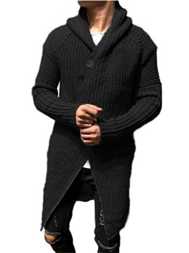 Ericdress Plain Hooded Mid-Length Slim Single-Breasted Men's Sweater