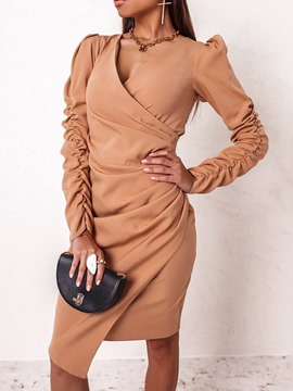 Ericdress V-Neck Long Sleeve Knee-Length Pullover Fall Women's Dress