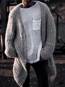 Ericdress Plain Round Neck Mid-Length Casual Men's Sweater