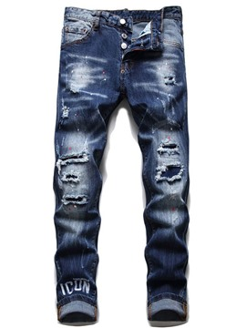 Ericdress Letter Worn Pencil Pants European Men's Button Jeans