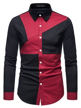 Ericdress Patchwork Color Block Lapel Men's Slim Spring Shirt