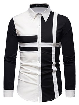 Ericdress OL Lapel Color Block Fall Single-Breasted Men's Shirt