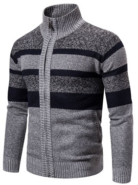 Ericdress Standard Color Block Stand Collar Casual Fall Men's Sweater