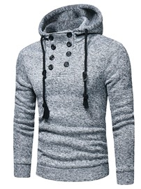 Ericdress Button Men's Plain Slim Pullover Hoodies