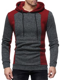 Ericdress Patchwork Color Block Pullover Fall Men's Slim Hoodies