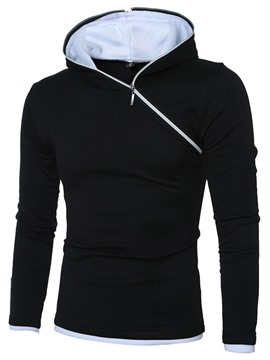 Ericdress Pullover Plain Zipper Men's Fall Hoodies