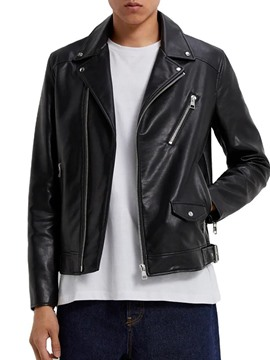 Ericdress Standard Plain Lapel European Men's Leather Jacket