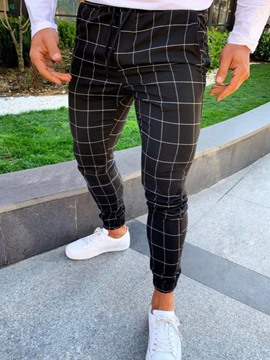 Ericdress Plaid Pencil Pants Casual Mid Waist Casual Men's Pants