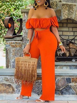 Ericdress Travel Look Full Length Pleated Women's Slim Straight Jumpsuit