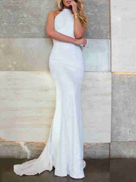 Ericdress Sleeveless Backless Floor-Length Plain Women's Dress