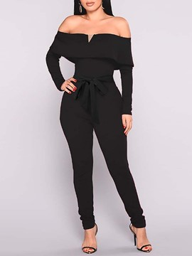 Ericdress Lace-Up Full Length Sexy Pencil Pants Mid Waist Women's Jumpsuit