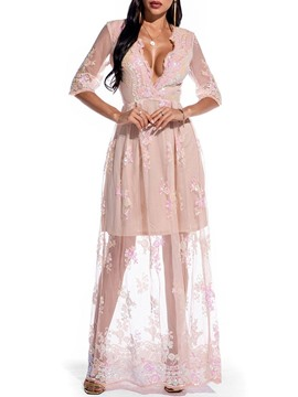 Ericdress Three-Quarter Sleeve Embroidery Floor-Length Women's Floral Dress