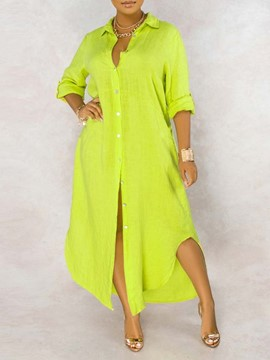Ericdress Floor-Length Split Long Sleeve Casual Plain Women's Dress