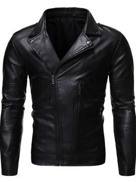 Ericdress Standard Plain Lapel Men's Slim European Leather Jacket