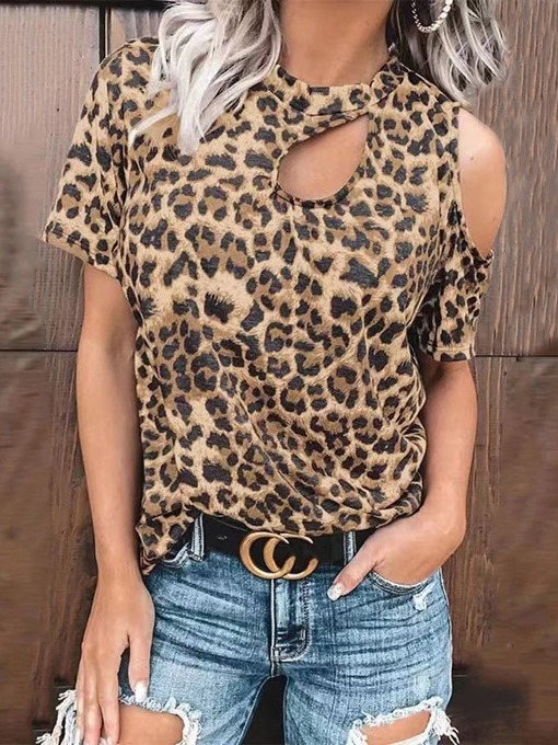Ericdress Leopard Short Sleeve Standard Loose Western Women's T-Shirt