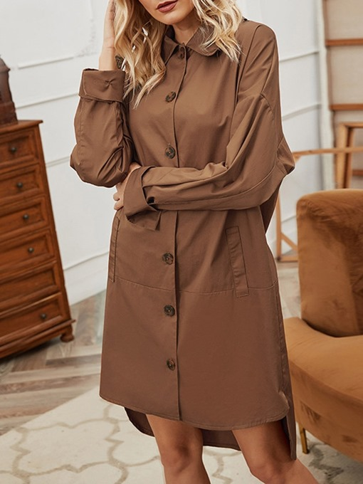 Ericdress Lapel Single-Breasted Patchwork Western Fall Women's Trench Coat