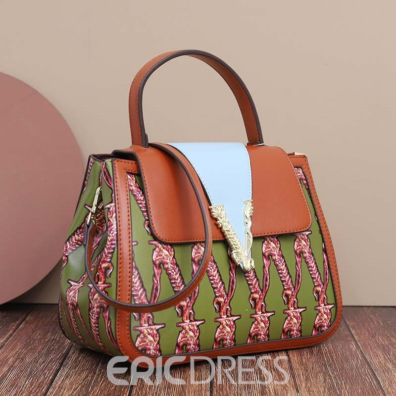 Ericdress Thread PU Floral Rectangle Tote Bags