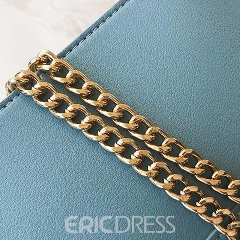 Ericdress Chain Plain PU Rectangle Tote Bags