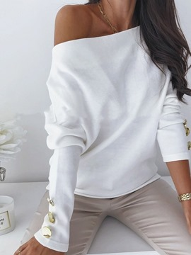 Ericdress Button Regular Long Sleeve Off Shoulder Women's Sweater