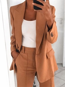 Ericdress Plain Notched Lapel One Button Regular Mid-Length Casual Women's Blazer
