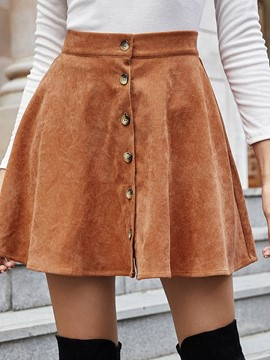 Ericdress Mini Skirt Plain A-Line High Waist Casual Women's Skirt