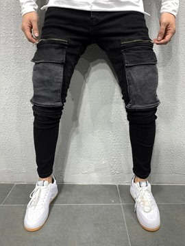 Ericdress Color Block Patchwork Pencil Pants Casual Mid Waist Men's Jeans