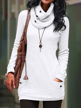 ericdress sudadera con capucha lisa regular patchwork heap collar fall mujer