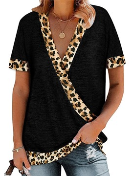 Ericdress V-Neck Short Sleeve Leopard Loose Women's Summer T-Shirt