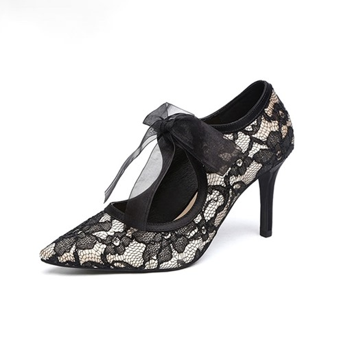 Ericdress Lace Lace-Up Pointed Toe Patchwork Thin Women's Shoes
