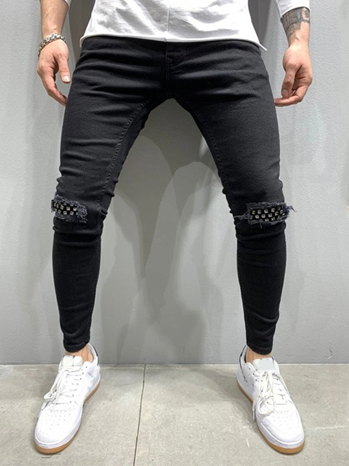 Ericdress Pencil Pants Patchwork Mid Waist Casual Men's Jeans