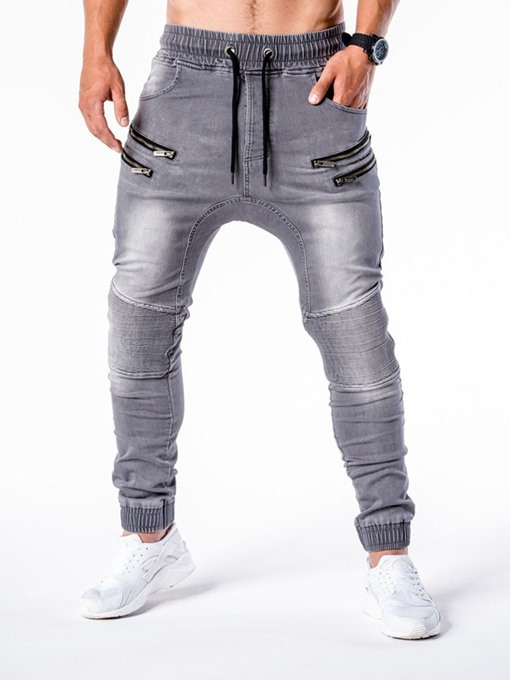 Ericdress Pencil Pants Zipper Casual Mid Waist Men's Jeans