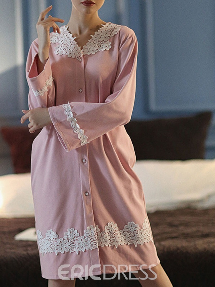 Ericdress Lace Plain Single Long Sleeve Simple Nightgowns