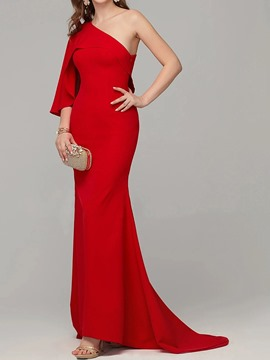 Ericdress Floor-Length Asymmetric Three-Quarter Sleeve Trumpet Plain Women's Dress