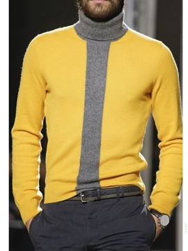 Ericdress Turtleneck Color Block Standard Winter Casual Men's Sweater