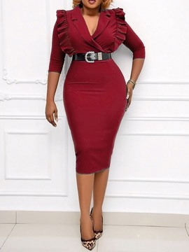 Ericdress Lapel Three-Quarter Sleeve Stringy Selvedge Fall Bodycon Dress